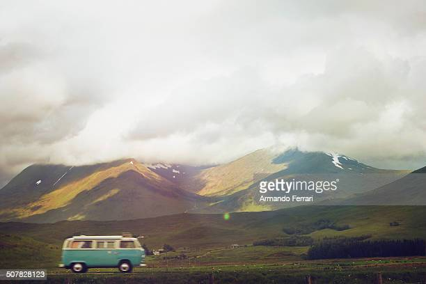 Campervan traveling through Scottish Highlands, Scotland