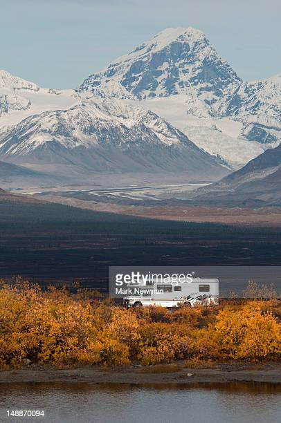 Campervan with Mt. Deborah in background.