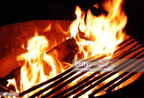 Campfire and grill : Stock Photo
