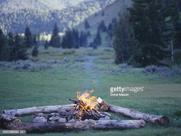 Campfire burning in country field