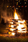 Campfire of traditional June festivities in countryside of Sao Paulo state - Brazil