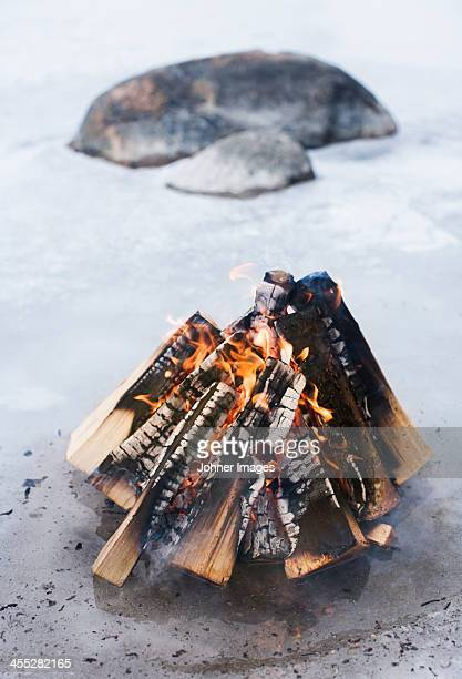 Campfire on beach, close-up