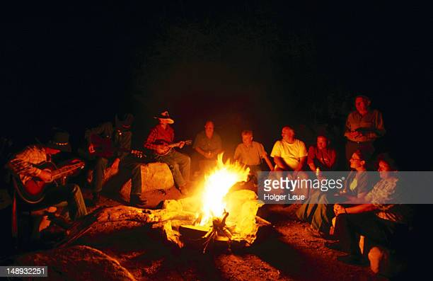 Campfire sing-along at Grand Canyon West Ranch, near Meadview.