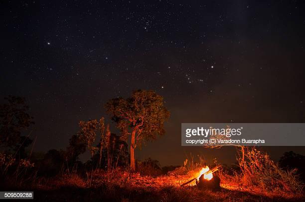 Campfire under the stars in Thailand.