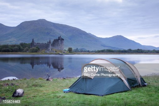 Camping at castle kilchurn : Stock Photo