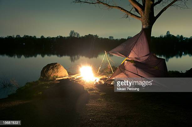 Camping at Night Fire Place Lake