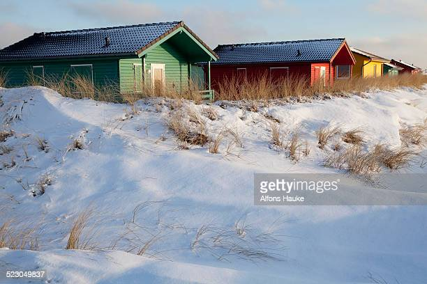 Camping cabins, Helgoland Dunes, Schleswig-Holstein, Germany, Europe
