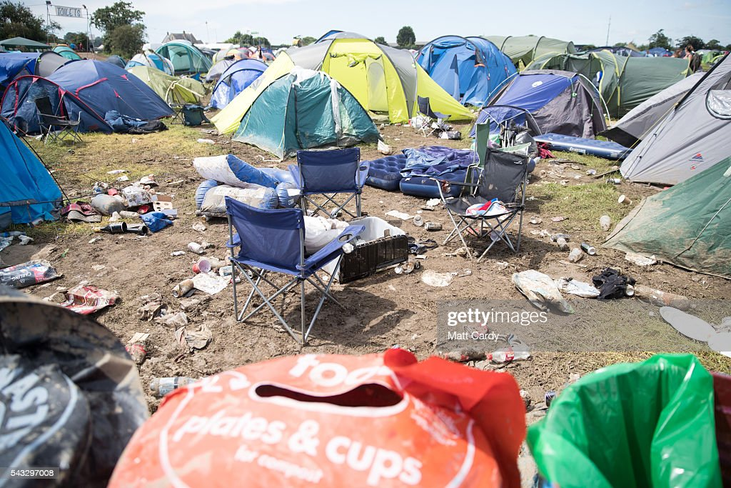 Camping equiptment is discarded as festival goers leave the Glastonbury Festival 2016 at Worthy Farm, Pilton on June 26, 2016 near Glastonbury, England. The Festival, which Michael Eavis started in 1970 when several hundred hippies paid just £1, now attracts more than 175,000 people.