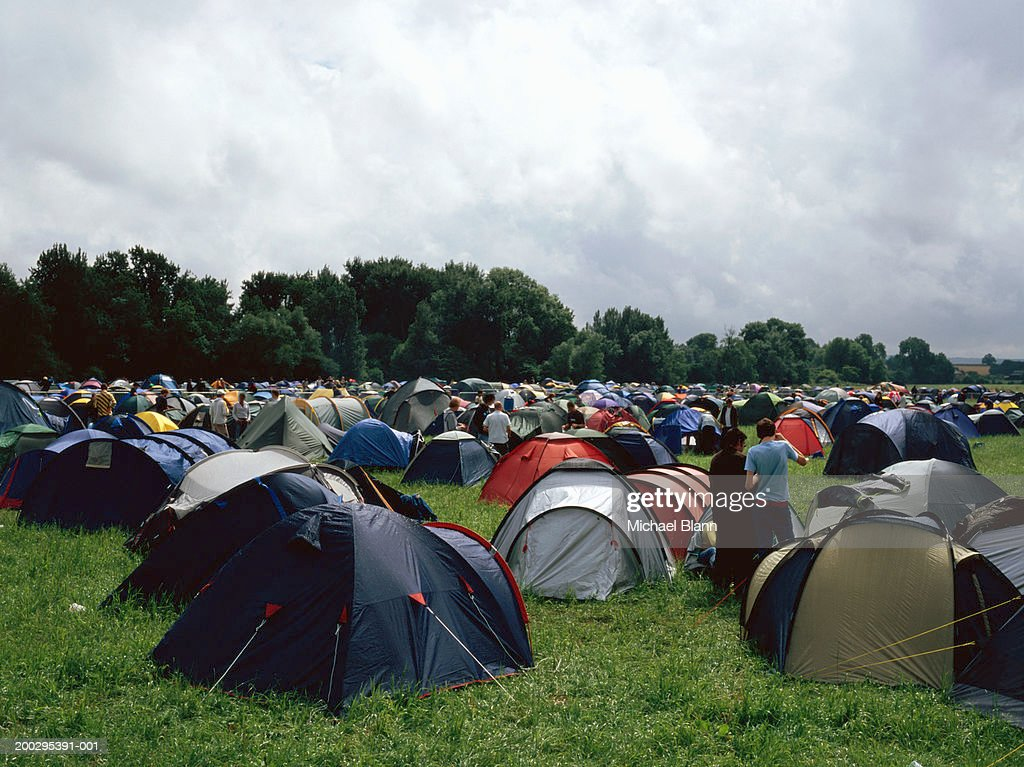 Camping field full of tents : Stock Photo