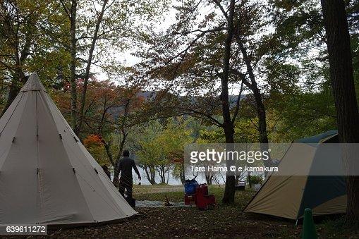 Camping in Saiko lake near Mt. Fuji : ストックフォト