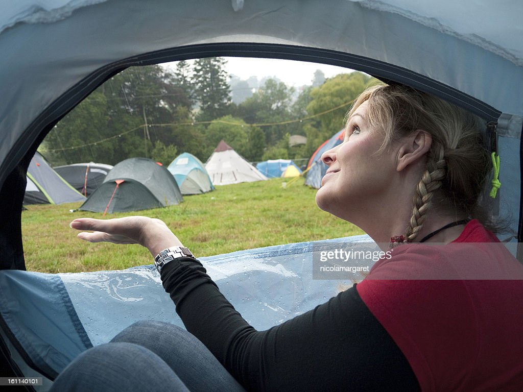 Camping in the rain : Stock Photo