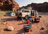 Camping on a mountain bike trip on the White Rim Trail in Canyonlands National Park Utah USA