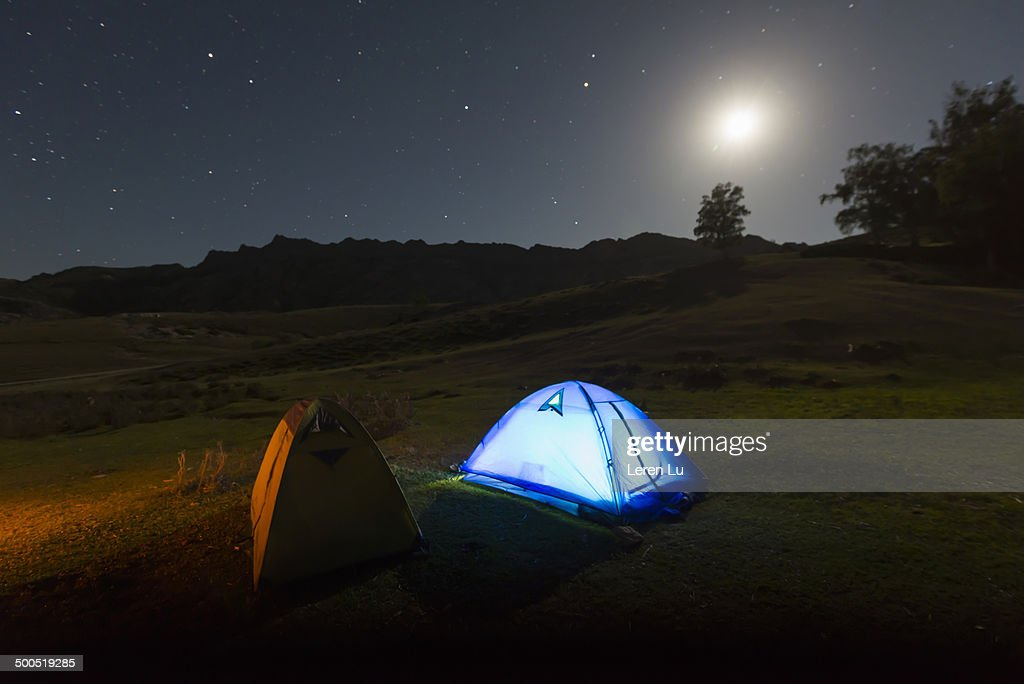 Camping on highland in starring night