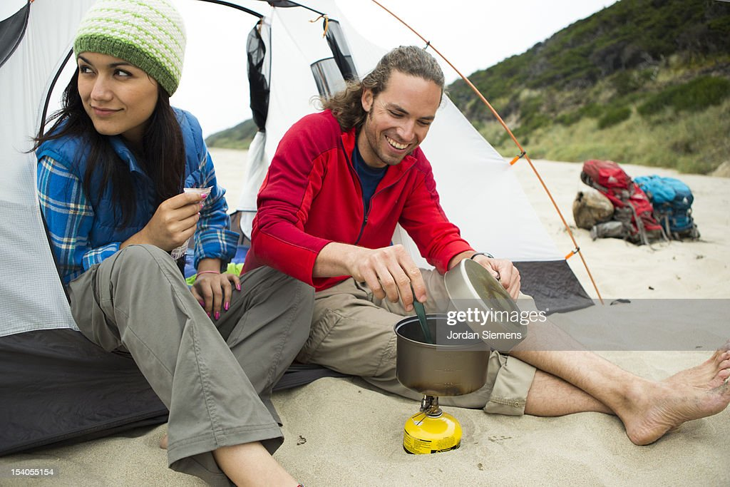 Camping on the coast. : Stock Photo