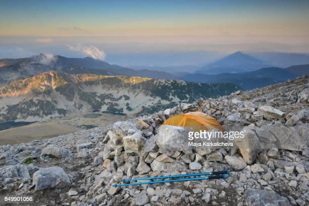Camping on top of a mountain, Vihren peak, Pirin, Bulgaria