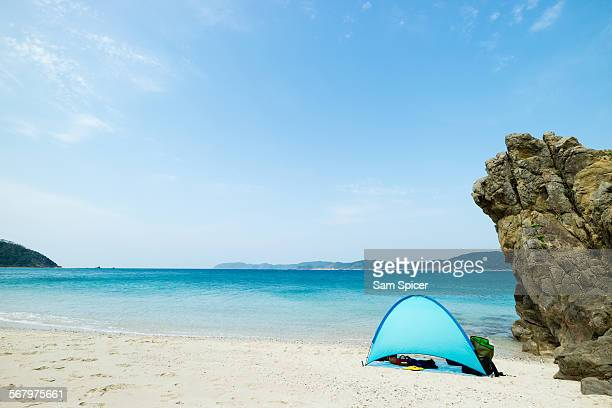 Camping on tropical beach paradise