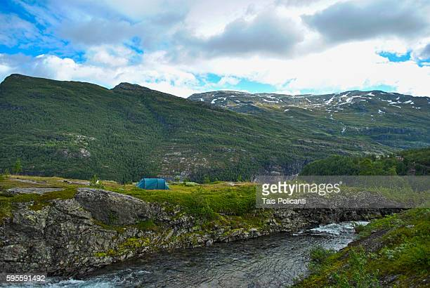 Camping tent near Myrdal train station in Norway, Scandinavia, Europe