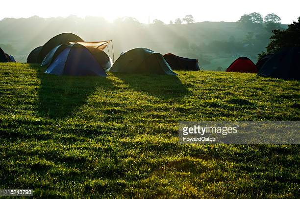 Camping tents at sunrise