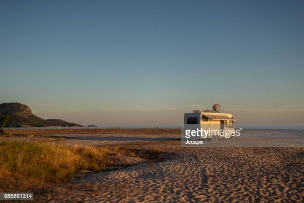 Camping trailer at the seaside