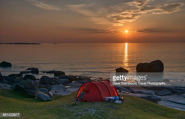 Camping under midnight sun, Lofoten Island, Norway