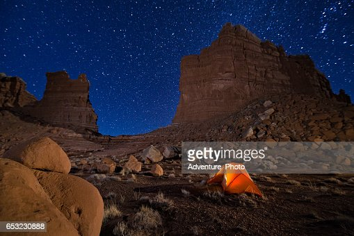 Camping Under the Stars in Canyon Country Utah : Stock Photo