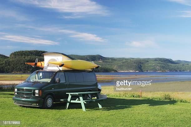 Camping vannear the Saguenay river shore