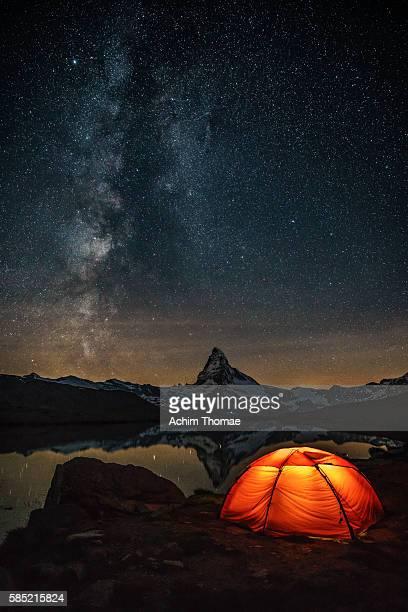Camping with a view, Lake Stellisee, Zermatt, Switzerland