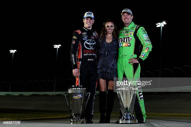 NASCAR Camping World Truck Series champion Erik Jones driver of the Toyota Samantha Busch and NASCAR Sprint Cup Series champion Kyle Busch driver of...