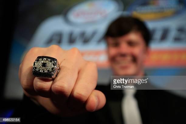 Camping World Truck Series Champion Erik Jones shows his championship ring during the NASCAR Camping World Truck Series and XFINITY Series Banquet at...