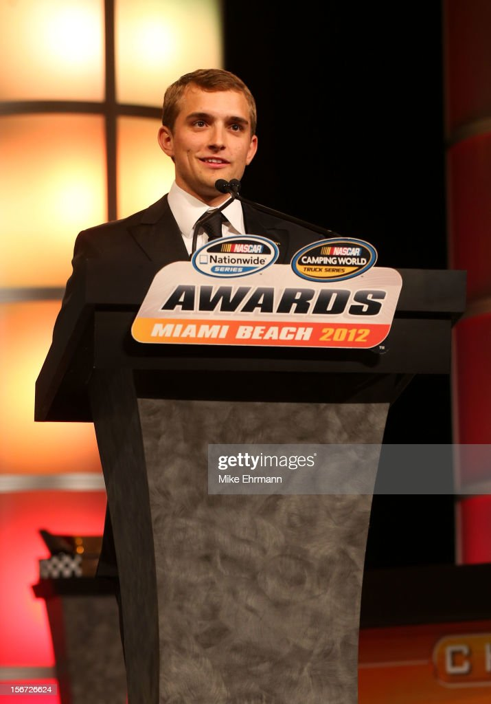 Camping World Truck Series Champion <a gi-track='captionPersonalityLinkClicked' href=/galleries/search?phrase=James+Buescher&family=editorial&specificpeople=5409134 ng-click='$event.stopPropagation()'>James Buescher</a> speaks during the NASCAR Nationwide Series And Camping World Truck Awards Banquet at Loews Miami Beach on November 19, 2012 in Miami Beach, Florida.