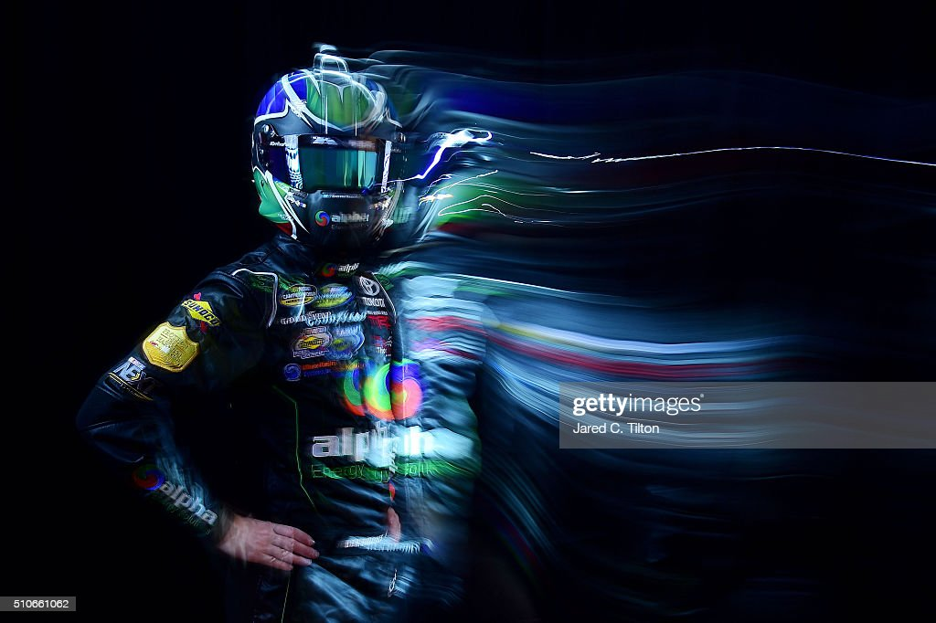 Camping World Truck Series driver Ben Rhodes poses for a portrait during NASCAR Media Day at Daytona International Speedway on February 16 2016 in...