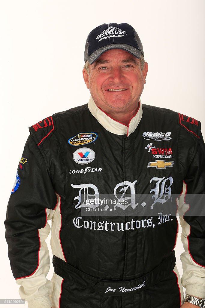 Camping World Truck Series driver Joe Nemechek poses for a photo at Daytona International Speedway on February 18 2016 in Daytona Beach Florida
