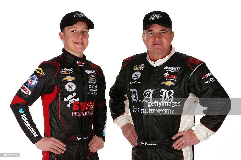 Camping World Truck Series drivers John Hunter Nemechek and Joe Nemechek pose for a portrait during the 2015 NASCAR Media Day at Daytona...