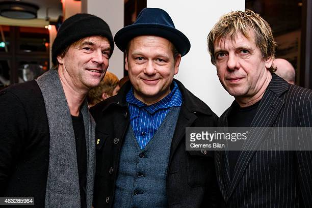 Campino Kuddel and Andi of the bad Die Toten Hosen attend the WarmUp at the Glashuette Original lounge during the 65th Berlinale International Film...