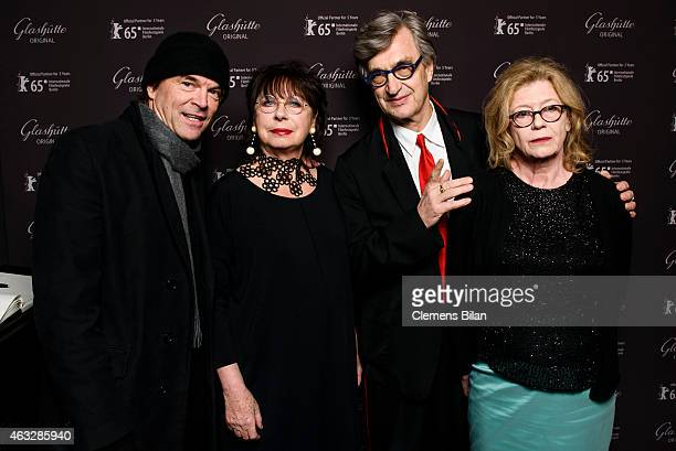 Campino Monika Hansen Wim Wenders and Lisa Kreuzer attend the WarmUp at the Glashuette Original lounge during the 65th Berlinale International Film...