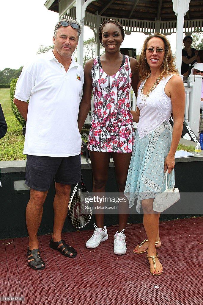 Campion Platt, Venus Williams, and Tatiana Platt attend the EleVen by Venus Williams party>> on August 11, 2012 in Southampton, New York.