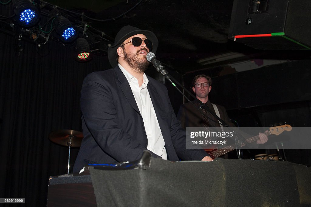 BC Camplight and Stephen Mutch of BC Camplight perform on stage at The Lexington on May 30, 2016 in London, England.
