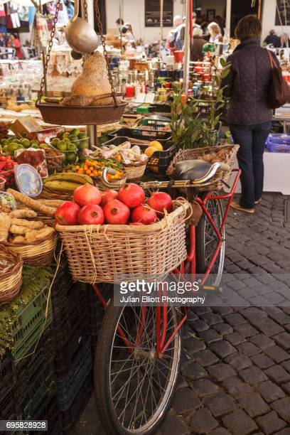 Campo de' Fiori in Rome, Italy. It is the only churchless square in Rome.