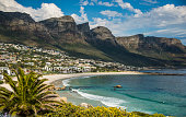 Camps Bay with the Twelve Apostles mountain range, Cape Peninsula, Cape Town, Western Cape, South Africa