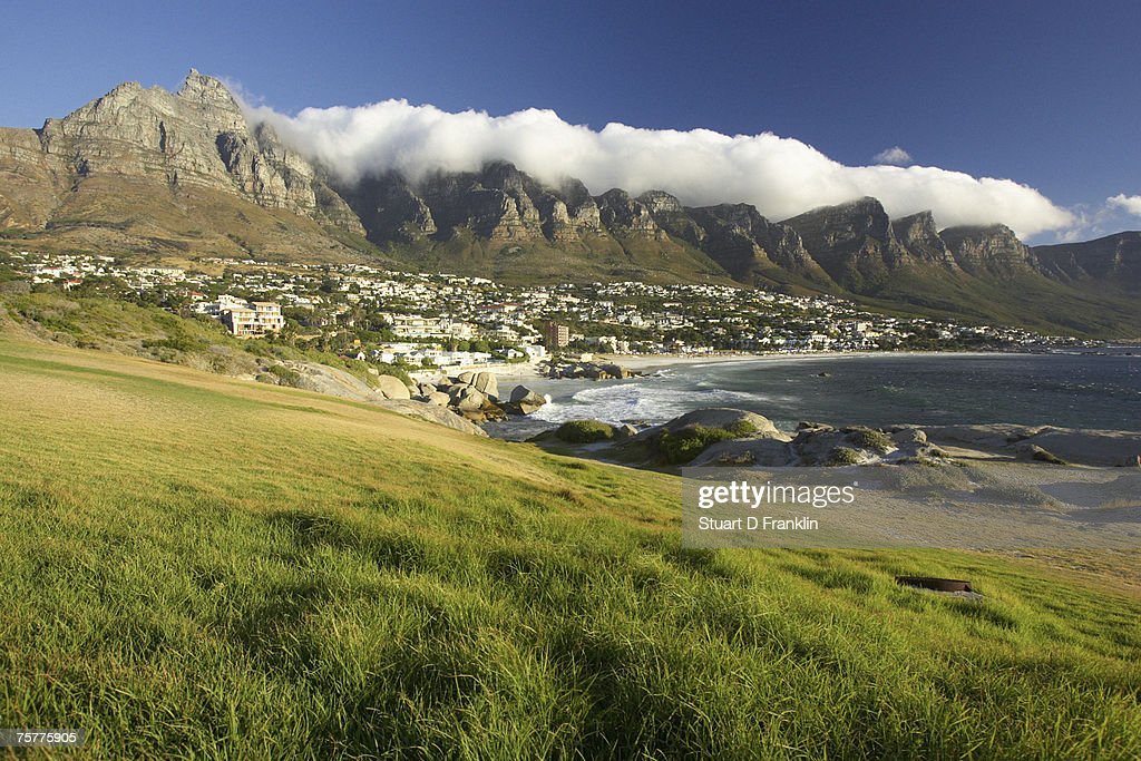 Camps Bay with Twelve Apostles in background, Cape Town, South Africa : Stock Photo