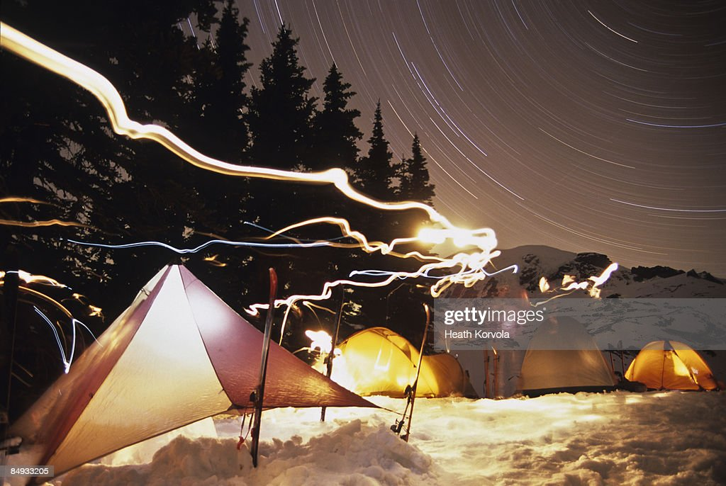 Campsite in mountains at night. : Stock Photo