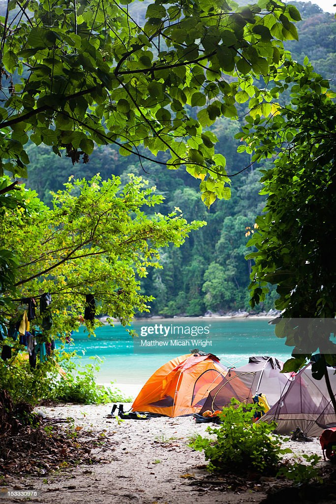 A campsite set up on the beach. : Stock Photo