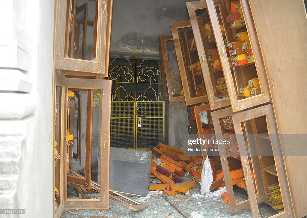 Campus of Mahabodhi Temple after the series of blast at Bodhgaya on July 7, 2013 in Bihar, India. Nine serial explosions today rocked the internationally renowned temple town of Bodhgaya. Two people have been injured in a series of blasts inside the Mahabodhi temple in Bihar's Bodhgaya district.