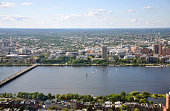 Aerial view of MIT campus on Charles River bank, Boston, Massachusetts, USA