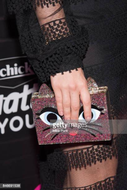 Camren Bicondova purse detail attends OK Magazine's Fall Fashion Week 2017 Event at Hudson Hotel on September 13 2017 in New York City