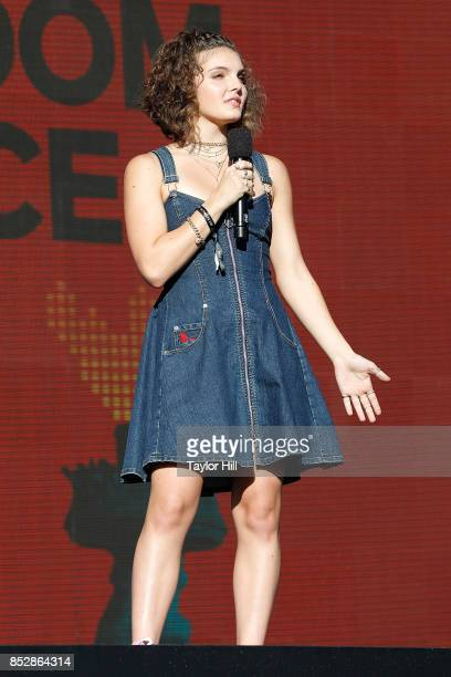 Camren Bicondova speaks during the 2017 Global Citizen Festival at The Great Lawn of Central Park on September 23 2017 in New York City