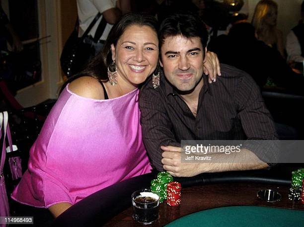 Camryn Manheim and Ron Livingston during BosPokercom $100000 Celebrity Poker Tournament 2004 at Private Residence in Beverly Hills California United...