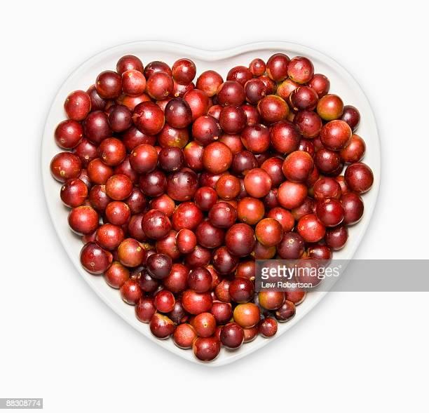 Camu camu on heart-shaped plate