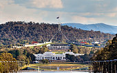 Close-up view of Canberra Capitol hill with New and Old Parliament houses on a line from ANZAC parade across Burley Griffin lake. Eucalyptus hills rising behind the city.