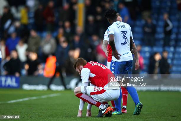 Can Bolger of Fleetwood Town dejected at full time during the Sky Bet League One match between Bury and Fleetwood Town at Gigg Lane on March 25 2017...